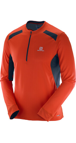 Salomon M's Fast Wing LS Tee Vivid Orange/Big Blue-X